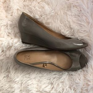 New York and Company gray patent wedges